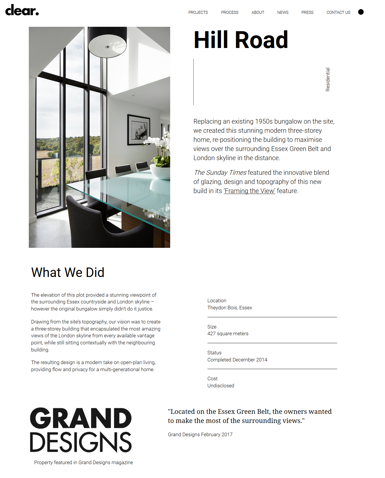 Magazine layout for new website for clear architects