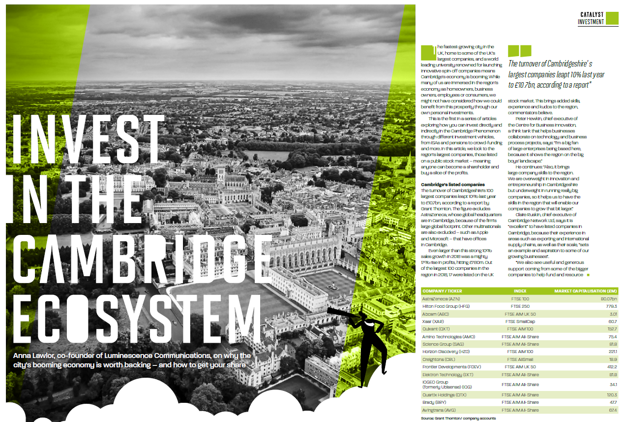 Luminescence magazine series about investing in the Cambridge Cluster launches