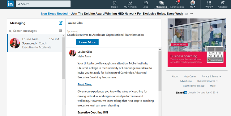 Example of LinkedIn InMail