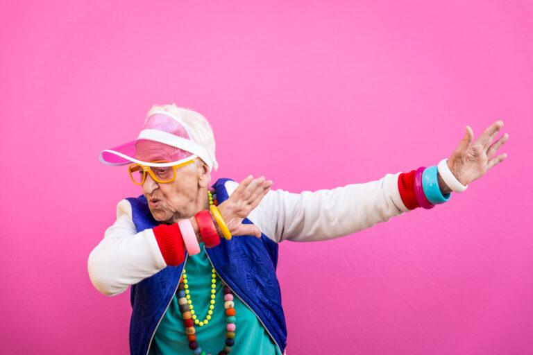 cool grandma pink background